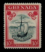 GRENADA - 1943 10/- Slate blue and bright carmine. Mint.  SG 163b.