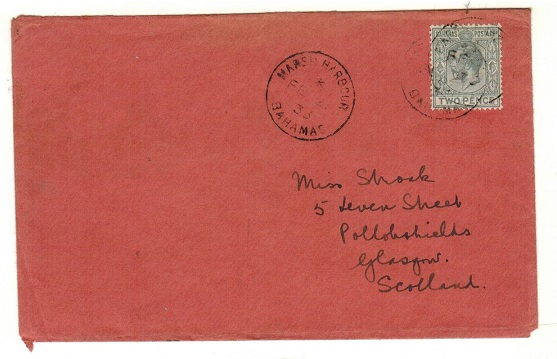 BAHAMAS - 1933 2d rate cover to UK used at MARSH HARBOUR.