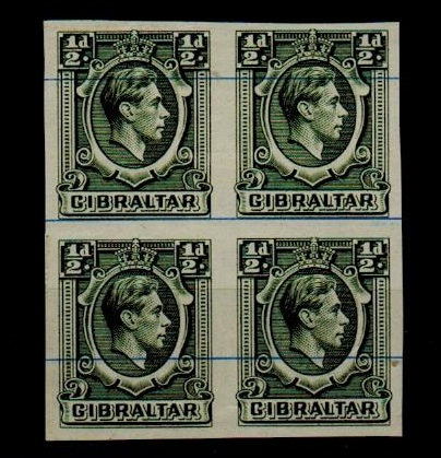 GIBRALTAR - 1938 1/2d IMPERFORATE PLATE PROOF block of four.