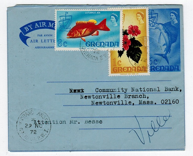 GRENADA - 1970 6c AIR LETTER addressed to USA used from GRAND ANSE. H&G 15.