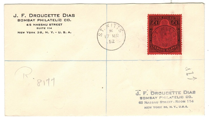 ST.KITTS - 1952 £1 (SG 114c) on registered cover to USA.