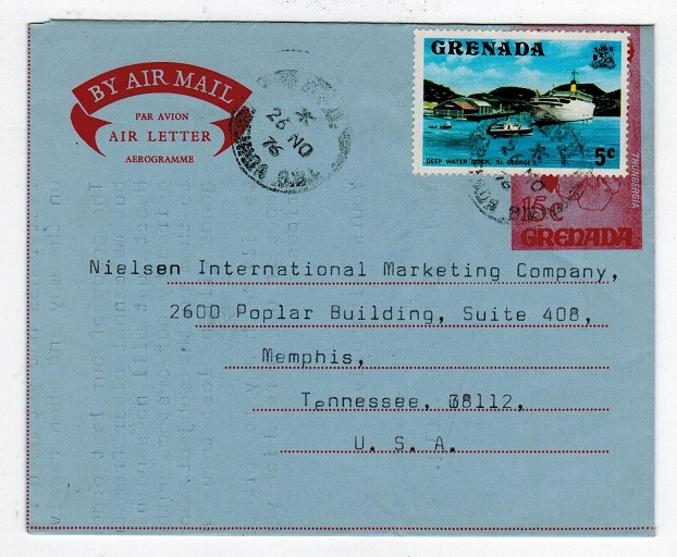 GRENADA - 1970 15c AIR LETTER to USA from ST.GEORGES.  H&G16.
