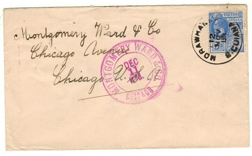 BRITISH GUIANA - 1914 5c rate cover to USA used at MORAWHANNA.