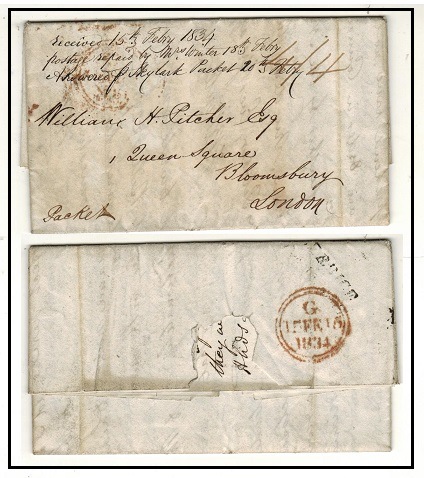 BRITISH GUIANA - 1833 4/4d rated stampless entire struck BERBICE in black on reverse.
