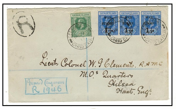 CAYMAN ISLANDS - 1917 registered cover to UK with 1 1/2d on 2 1/2d
