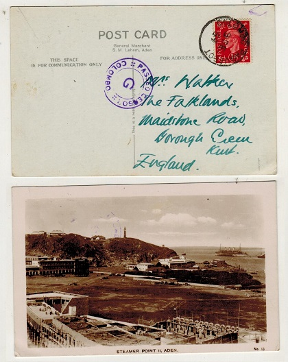 CEYLON - 1939 GB 1d rate postcard use cancelled COLOMBO PAQUEBOT with COLOMBO/G censor mark.