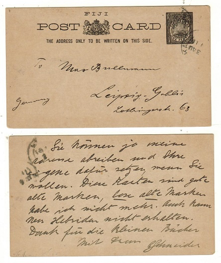 FIJI - 1895 1d black PSC to Germany used at LEVUKA.  H&G 1.