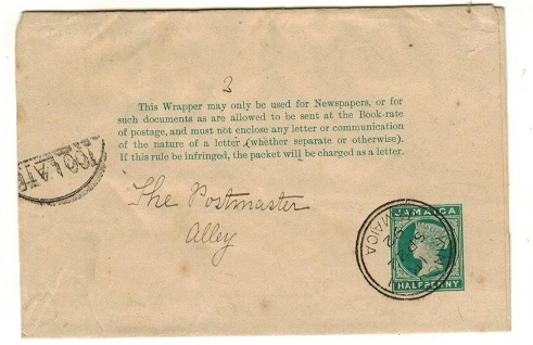 JAMAICA - 1888 1/2d green postal stationery wrapper used locally with TOO LATE h/s.