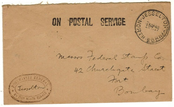 NORTH BORNEO - 1948 use of stampless ON POSTAL SERVICE envelope to India used at JESSELTON.