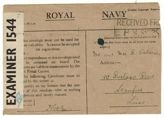 BERMUDA - 1942 (circa) censored use of ROYAL NAVY honour envelope to UK.