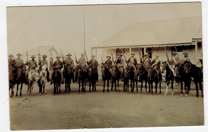 TRANSVAAL - 1900 (circa) real photo picture postcard depicting 16 Boer troops.