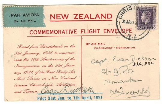 NEW ZEALAND - 1931 first flight cover Christcurch to Normanton. Signed by pilot.