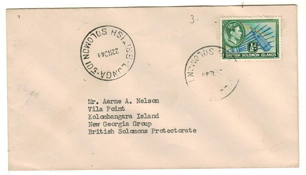 SOLOMON ISLANDS - 1944 1/2d rate uncensored local cover used at LUNGA.