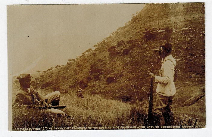 TRANSVAAL - 1900 (circa) real photo postcard depicting Boer troops on duty at Spion.