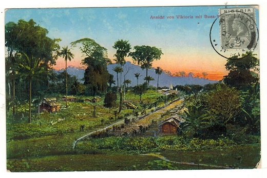 CAMEROONS - 1925 unaddressed postcard bearing Nigerian 2d tied TINTO.