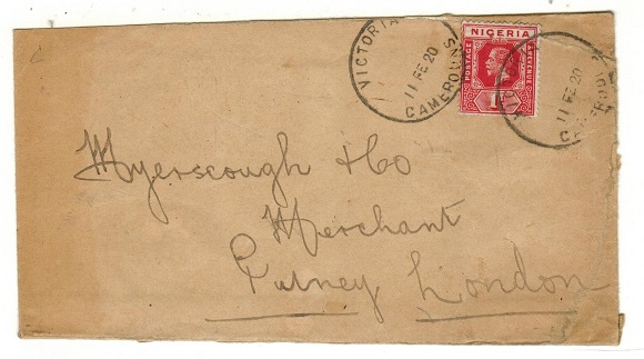 CAMEROONS - 1920 1d rate cover to UK used at VICTORIA/CAMEROONS.