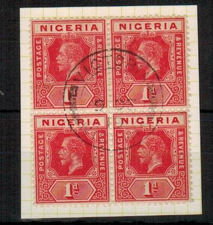 CAMEROONS - 1919 use of Nigerian 1d block of four cancelled VICTORIA.