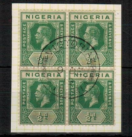 CAMEROONS - 1919 use of Nigerian 1/2d green block of four used at VICTORIA.