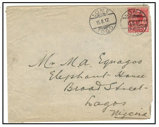 TOGO - 1917 1d rate cover to Lagos in Nigeria used at LOME.