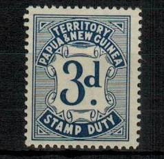 PAPUA - 1952 3d blue STAMP DUTY adhesive in fine fresh mint condition.