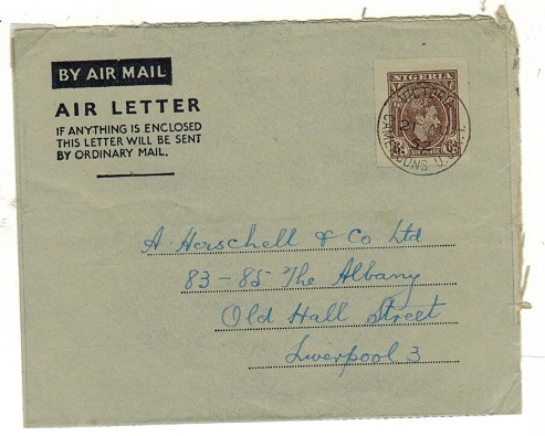 CAMEROONS - 1952 use of Nigerian 6d air letter to UK used at VICTORIA/CAMEROONS U.U.K.T.