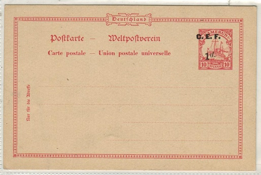 CAMEROONS (British) - 1915 1d on 10pfg red PSC unused with MISPLACED