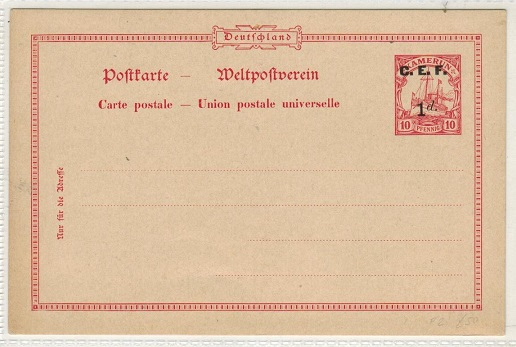CAMEROONS (British) - 1915 1d on 10pfg red PSC unused overprinted