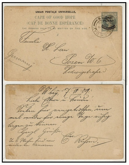 SOUTH WEST AFRICA - 1897 1d on 1 1/2d Cape PSC to Germany used at WALVIS BAY.  H&G 12.