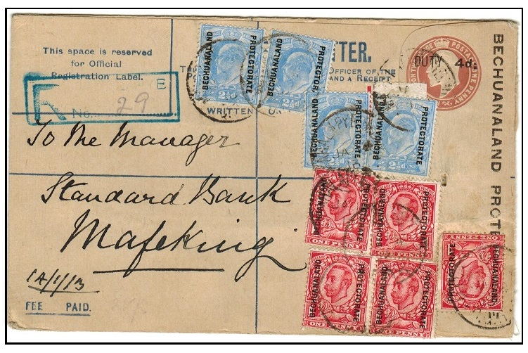 BECHUANALAND - 1907 4d on 2d+1d brown uprated RPSE to Mafeking used at MAHALPYE.  H&G 9a.