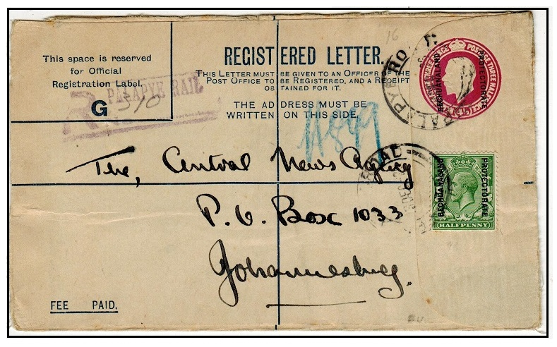BECHUANALAND - 1925 3d + 1 1/2d red-violet uprated RPSE used at PALAPYE RAIL.  H&G 16.