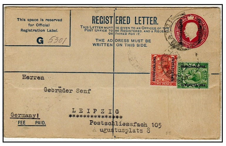 BECHUANALAND - 1925 3d + 1 1/2d red-violet uprated RPSE used at LOBATSI.  H&G 16.