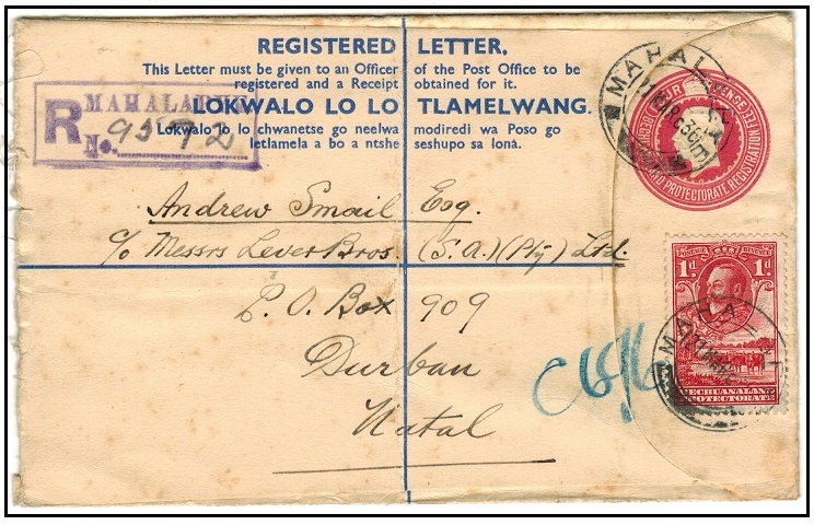BECHUANALAND - 1932 4d carmine uprated RPSE to Natal (faults) used at MAHALAPYE.  H&G 17.