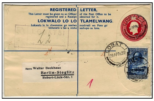 BECHUANALAND - 1932 4d carmine-rose uprated RPSE to Germany used at LOBATSI.  H&G 17.