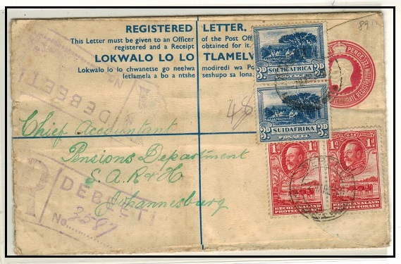 BECHUANALAND - 1932 4d carmine rose uprated RPSE to Johannesburg used at DEBEETI.  H&G 17.