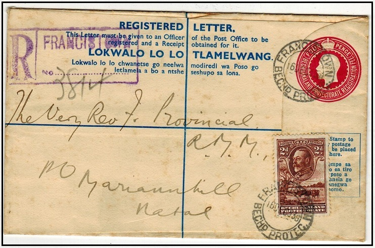 BECHUANALAND - 1932 4d carmine rose uprated RPSE to Natal used at FRANCISTOWN.  H&G 17.
