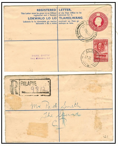 BECHUANALAND - 1932 4d carmine rose uprated RPSE used at PALAPYE.  H&G 17.