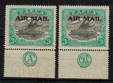 PAPUA - 1929 3d AIR MAIL mint examples with @CA