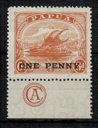 PAPUA - 1917 ONE PENNY on 6d orange brown mint