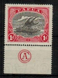 PAPUA - 1916 1d black and red mint example with
