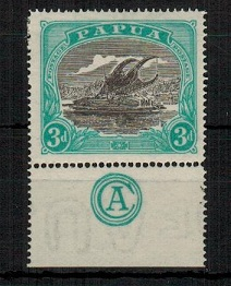 PAPUA - 1916 3d black and bright blue green mint