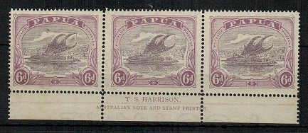 PAPUA - 1919 6d dull and pale purple mint T.S.HARRISON imprint strip of three.  SG 101.