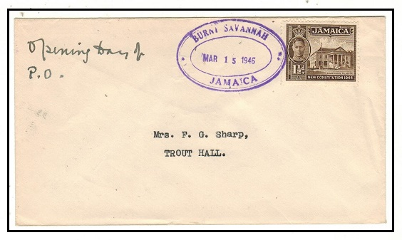 JAMAICA - 1946 1 1/2d local cover used at BURNT SAVANNAH.