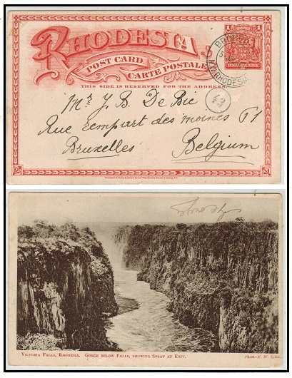 RHODESIA - 1899 1d brick red illustrated PSC to Belgium used at BROKEN HILL/N.RHODESIA.  H&G 11a.