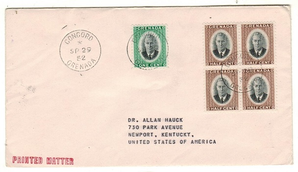 GRENADA - 1952 3c rate cover to USA used at CONCORD.