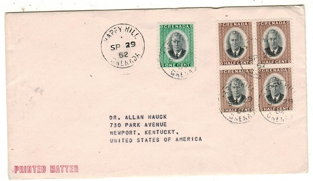 GRENADA - 1952 3c rate cover to USA used at HAPPY HILL.