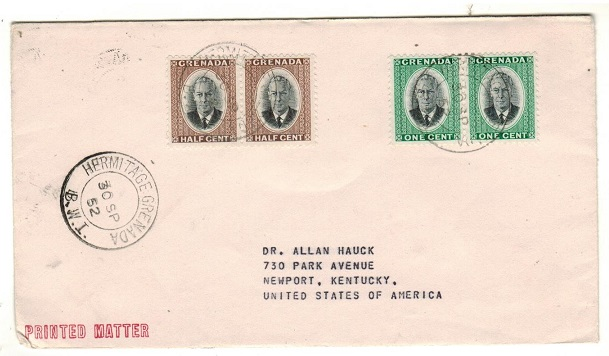 GRENADA - 1952 3c rate cover to USA used at HERMITAGE.