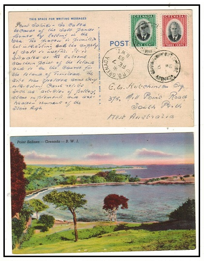 GRENADA - 1953 postcard addressed to Australia used at GRAND ANSE POST OFFICE.