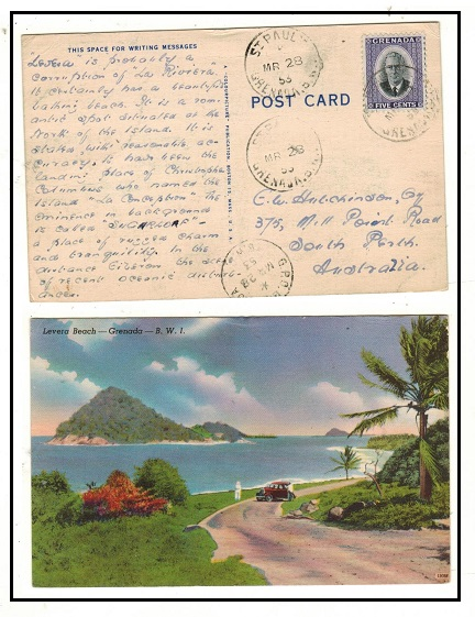 GRENADA - 1953 postcard addressed to Australia used at ST.PAUL.