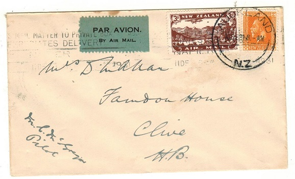 NEW ZEALAND - 1931 Auckland to Gisbourne first flight cover. Pilot signed.