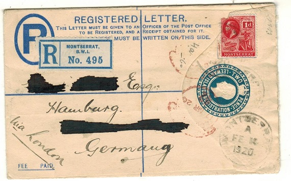 MONTSERRAT - 1920 2d blue RPSE of Leeward Islands uprated to Germany.  H&G 4a.